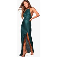Womens Petite Pleated Thigh Split Maxi Dress - green - 8, Green