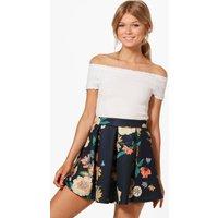Alice Floral Print Skater Skirt - multi