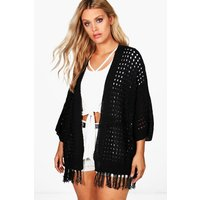 Carla Fringe Trim Cardigan - black
