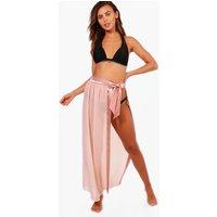 Womens Petite Satin Tie Beach Sarong - pink - S/M, Pink