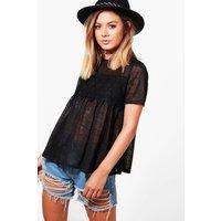Bella Crochet Detail Swing Top - black