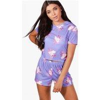 Aimee Unicorn Print Pyjama Short Set - lilac