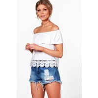 Lorna Off The Shoulder Crochet Top - white