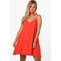 Rosie Crepe Choker Cami Dress - orange