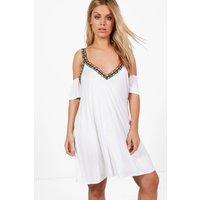 Jasmin Aztec Trim Beach Dress - white