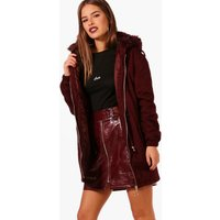 Womens Petite Faux Fur Hood Parka - red - 6, Red