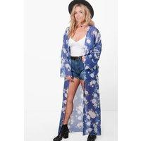 Naomi Floral Chiffon Longline Kimono - blue