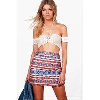 Jessica Embroidered A-Line Mini Skirt - multi