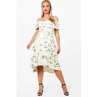 Elizabeth Deep Bardot Floral Dip Back Midi Dress - multi