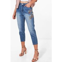 Lucia Embroidered Mom Jean - blue