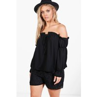 Marissa Ruffle Detail Off The Shoulder Top - black