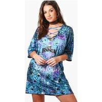 Bethany Tie Dye Lace Up T-shirt Dress - multi
