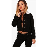Womens Petite Borg Collar Denim Jacket - black - 4, Black