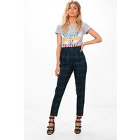 Womens Petite High Waisted Check Tapered Trouser - multi - 12, Multi