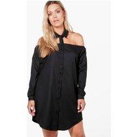 Jessica Cut Out Collar Shirt Dress - black