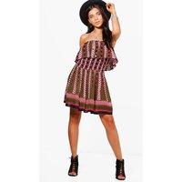 Rachel Off The Shoulder Printed Dress - multi