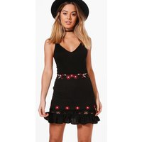 Keely Embroidered Ruffle Hem Woven Skirt - black