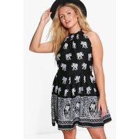 Cassie Elephant Halterneck Sundress - black
