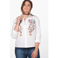 Nicole Embroidered Shoulder Shirt - white