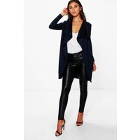 Womens Petite Ponte Wrap Front Duster Jacket - Navy - 14,
