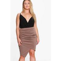 Charlotte Ruched Wrap Midi Skirt - mocha