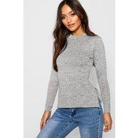 Womens Petite High Neck Soft Knit Side Split Tunic Top - Grey - 6, Grey
