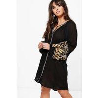 Verity Embroidered Smock Dress - black