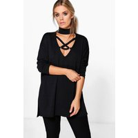 Womens Plus Cross Front Knitted Jumper - black - 18, Black