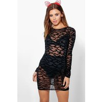 Sasha Mesh Bat Print Halloween Bodycon Dress - black