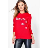 Clare Prosecco Christmas Jumper - red