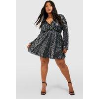 Womens Plus Sequin Wrap Skater Dress - Black - 18, Black