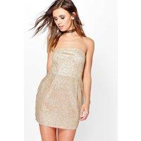 Penelope Bandeau Sequin Bodycon Dress - gold