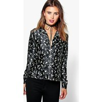 Lucy Floral Pyjama Style Shirt - black