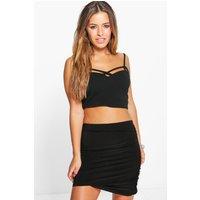 Daphne Ruched Slinky Mini Skirt - black