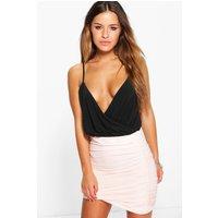 Daphne Ruched Slinky Mini Skirt - blush
