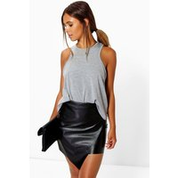 Womens Petite Asymmetric PU Mini Skirt - black - 6, Black