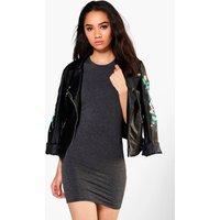 Roxy Cap Sleeve Mini Bodycon Dress - charcoal