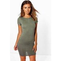 Roxy Cap Sleeve Mini Bodycon Dress - khaki
