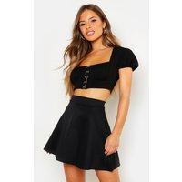 Image of Womens Petite Colour Pop Skater Skirt - black - 12, Black