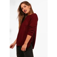 Womens Petite Side Split Tunic Jumper - Red - 4, Red