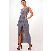 Womens Petite Plunge Drape Maxi Dress - grey - 10, Grey