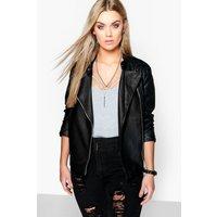 Eliza Quilted Faux Leather Biker Jacket - black