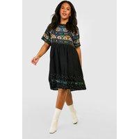 Womens Plus Retro Print Smock Dress - Black - 20, Black