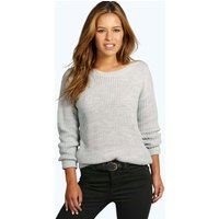 Womens Petite Oversized Jumper - grey - 8, Grey