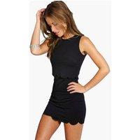 Womens Petite Double Layer Scallop Hem Dress - black - 4, Black