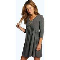 Emma 3/4 Sleeve Babydoll Dress - charcoal