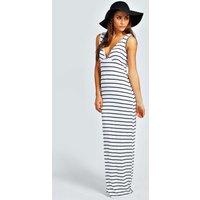 Harriet Plunge Striped Jersey Maxi Dress - ivory