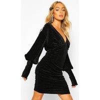 Premium Pleated Velvet Drape Sleeve Bodycon Dress - black - 10, Black