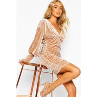 Premium Pleated Velvet Drape Sleeve Bodycon Dress - Beige - 10, Beige