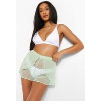 Womens Chiffon Beach Flippy Shorts - Green - 14, Green